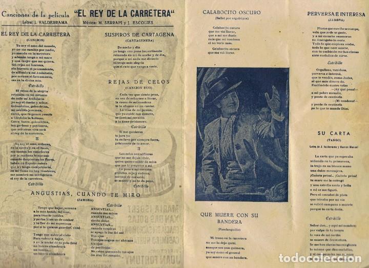 Cine: FOLLETO ¨EL REY DE LA CARRETERA¨DOBLE CANCIONERO JUANITO VALDERRAMA 1956 - Foto 2 - 80649262