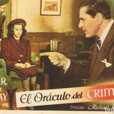 Cine: FOLLETO DE MANO¨EL ORÁCULO DEL CRIMEN¨. Lote 80652294