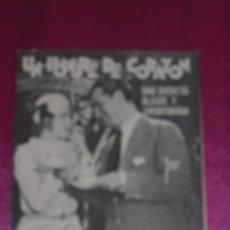 Cine: UN HOMBRE DE CORAZON DE 1937 CINE PROGRAMA DE CINE DOBLE PUBLICIDAD TEATRO CAMPOAMOR . Lote 80979596