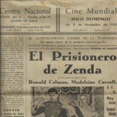 Cine: PROGRAMACION CINE CENTRO NACIONAL-CINE MUNDIAL IGUALADA 8 NOVIEMBRE 1942. EL PRISIONERO DE ZENDA. Lote 81042644