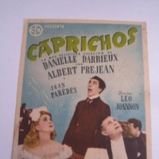 Cine: CAPRICHOS FOLLETO DE MANO ORIGINAL ESTRENO CON CINE IMPRESO . Lote 81221128