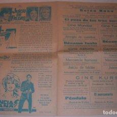 Cine: PROGRAMA DE MANO DOBLE. BESAME TONTO, MERCANCIA HUMANA, JUICIO DE FALDAS, IGUALADA 1970. Lote 81575932