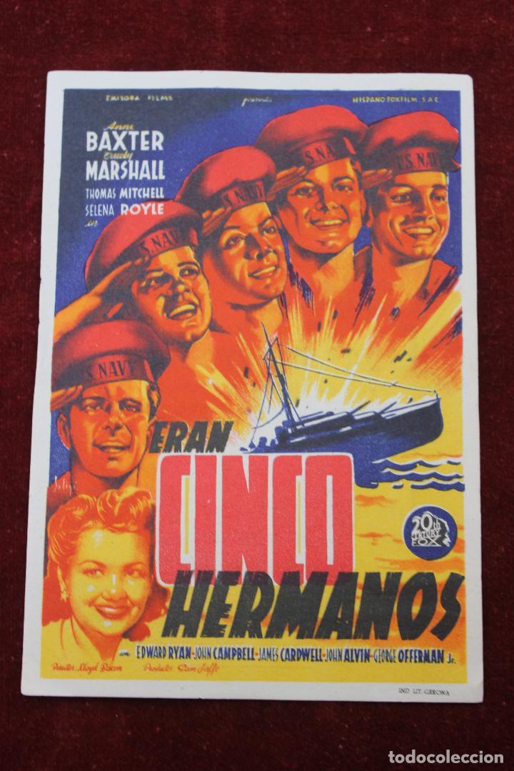 PROGRAMA CINCO HERMANOS, CINE GREJ PARQUE DE RECREOS, TORRE PACHECO 1948 (Cine - Folletos de Mano - Acción)