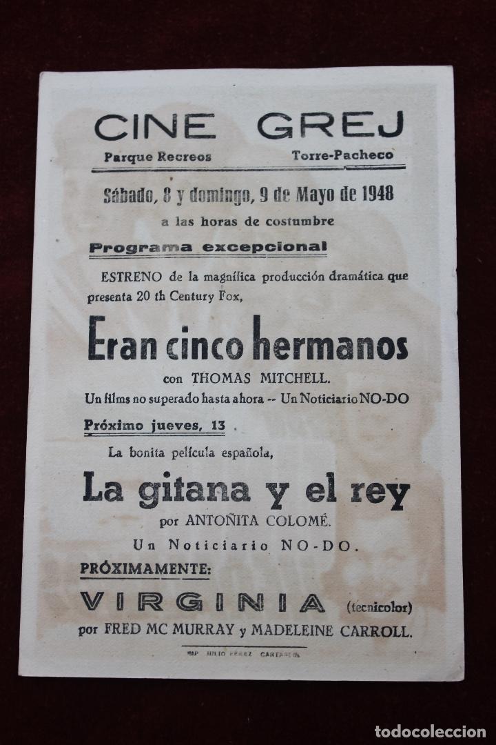 Cine: PROGRAMA CINCO HERMANOS, CINE GREJ PARQUE DE RECREOS, TORRE PACHECO 1948 - Foto 2 - 81852056