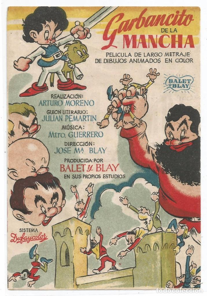GARBANCITO DE LA MANCHA .- SALON RAMBLA - CINE CERVANTES SABADELL 1947 (Cine - Folletos de Mano - Infantil)