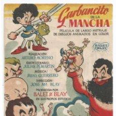 Cine: GARBANCITO DE LA MANCHA .- SALON RAMBLA - CINE CERVANTES SABADELL 1947. Lote 82148940