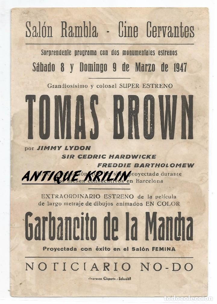 Cine: GARBANCITO DE LA MANCHA .- SALON RAMBLA - CINE CERVANTES SABADELL 1947 - Foto 2 - 82148940