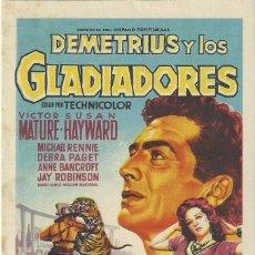 Cine: PROGRAMA DE CINE.DEMETRIUS Y LOS GLADIADORES.SIN PUBLICIDAD.. Lote 82202496