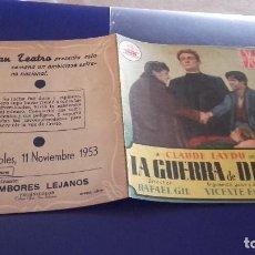 Cine: PROGRAMA DE MANO ORIGINAL DOBLE - LA GUERRA DE DIOS - CON PUBLICIDAD CINE DE JATIVA 1953. Lote 82392952