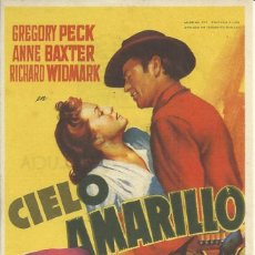 Cine: PROGRAMA CINE CIELO AMARILLO.1949.PUBLICIDAD.. Lote 82793812