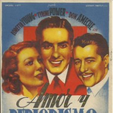 Cine: PROGRAMA CINE.AMOR Y PERIODISMO.. Lote 82925160