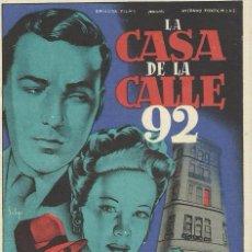 Cine: PROGRAMA CINE.LA CASA DE LA CALLE 92.. Lote 82967488