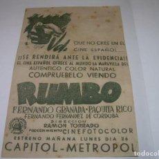 Cine: ANTIGUO Y RARO PROGRAMA DE CINE....RUMBO....DORSO FOTO DEL C. DE F. BARCELONA.. Lote 83009892
