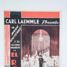 Cine: PROGRAMA DE CINE DOBLE - EL REY DEL JAZZ - CARL LAEMMLE / UNIVERSAL PICTURES, 1935. Lote 83284692
