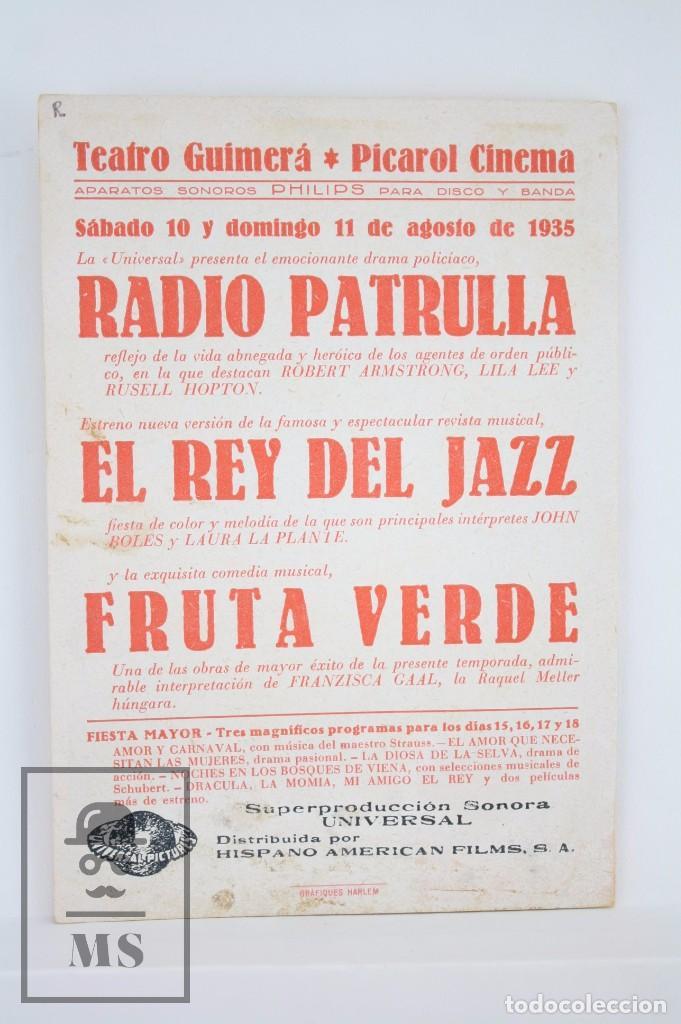 Cine: Programa de Cine Doble - El Rey del Jazz - Carl Laemmle / Universal Pictures, 1935 - Foto 3 - 83284692