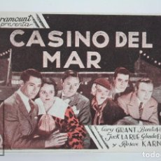 Cine: PROGRAMA DE CINE DOBLE - CASINO DEL MAR - CARY GRANT - PARAMOUNT FILMS, 1935. Lote 83285540