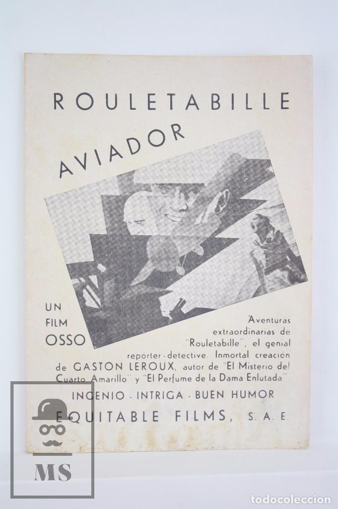 PROGRAMA DE CINE DOBLE - ROULETABILLE AVIADOR - EQUITABLE FILMS / OSSO, 1935 (Cine - Folletos de Mano - Aventura)