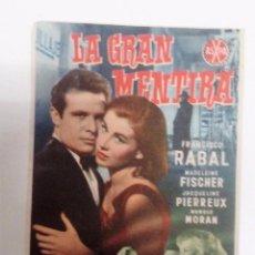 Cine: LA GRAN MENTIRA PACO RABAL FOLLETO DE MANO ORIGINAL CINE ARENAL DE LAS ARENAS. Lote 83464944