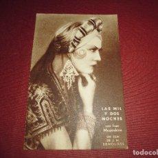 Cine: ANTIGUO PROGRAMA DE CINE,TARJETA POSTAL,LAS MIL Y DOS NOCHES,CON PUBLICIDAD. Lote 83532284