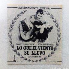 Cine: LO QUE EL VIENTO SE LLEVÓ FOLLETO DE MANO DOBLE ORIGINAL CINE CONSULADO VER FOTOGRAFÍAS. Lote 84343120