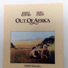 Cine: OUT OF AFRICA (ROBERT REDFORD-MERYL STREEP) FOLLETO DE MANO ORIGINAL DESPLEGABLE WEA RECORDS. Lote 84349240