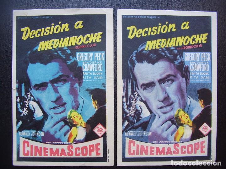 DECISIÓN A MEDIANOCHE, GREGORY PECK, VARIANTE (Cine - Folletos de Mano - Drama)