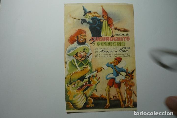 PROGRAMA CUCURUCHITO Y PINOCHO -PUBLICIDAD (Cine - Folletos de Mano - Infantil)