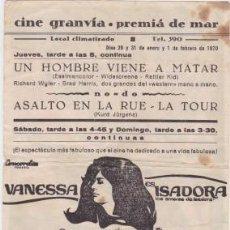 Flyers Publicitaires de films Anciens: ISADORA (CON PUBLICIDAD). Lote 84765152