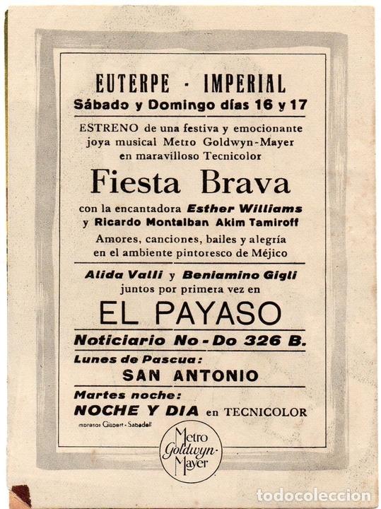 Cine: PRO007 FIESTA BRAVA. ESTHER WILLIAMS. PROGRAMA DE MANO. CON PUBLICIDAD. 1947 - Foto 3 - 84833284