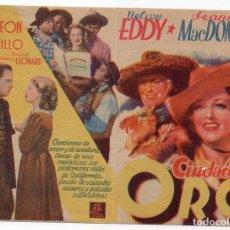 Cine: PRO014 CIUDAD DEL ORO. NELSON EDDY Y JEANNETTE MACDONALD. CON PUBLICIDAD. Lote 84936984