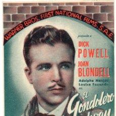 Cine: PRO019 EL GONDOLERO DE BROADWAY. DICK POWELL. DOBLE. 1935. Lote 84941552