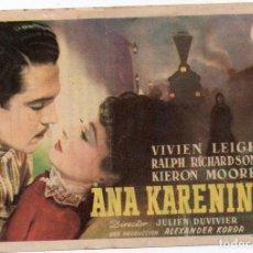 Cine: PRO021 ANA KARENINA. VIVIEN LEIGH. CON PUBLICIDAD. 1948. Lote 84942680