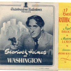 Cine: PR024 SHERLOCK HOLMES EN WASHINGTON. BASIL RATHOBONE. CON PUBLICIDAD. 1943. Lote 84944876