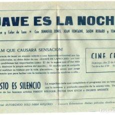 Cine: PRO028 SUAVE ES LA NOCHE. JENNIFER JONES. DOBLE. 1964. Lote 84948352