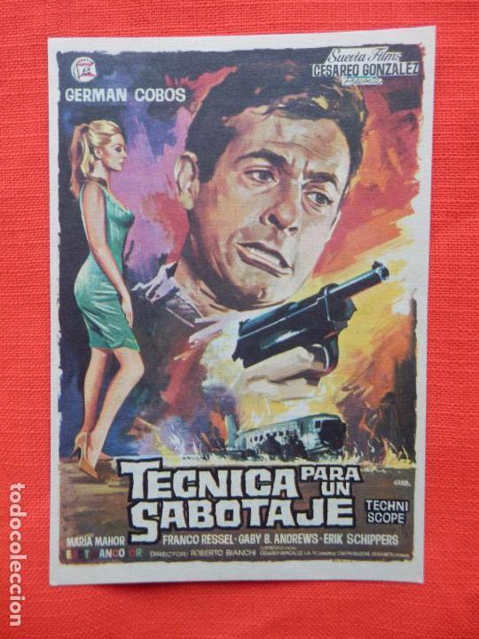 TECNICA PARA UN SABOTAJE, IMPECABLE SENCILLO, GERMAN COBOS, CINE VERSALLES PALACE 1970 (Cine - Folletos de Mano - Acción)