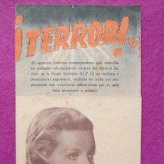 Cine: FOLLETO DE MANO, PROGRAMA CINE, ¡TERROR!, DOBLE, PM182. Lote 85515360