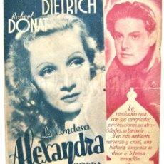 Cine: PROGRAMA DOBLE *LA CONDESA ALEXANDRA* MARLENE DIETRICH, ROBERT DONAT. 1937 CON PUBLICIDAD. Lote 86095044