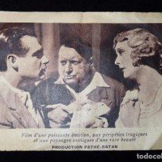 Cine: ANTIGUO PROGRAMA DE MANO PELÍCULA FRANCESA PARTIR, DE MAURICE TOURNEUR. SIMONE CERDAN, 1931. CINE. Lote 86820864