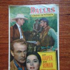 Cine: PROGRAMA DE CINE: DALLAS, CIUDAD FRONTERIZA. CINE SALA MERCED-LA ESPERANZA. ARENYS DE MAR. ANY 1952.. Lote 86900380