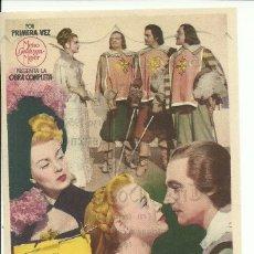 Cine: FOLLETO DE MANO ORIGINAL CINE - LOS TRES MOSQUETEROS - PUBLICIDAD EN REVERSO. Lote 87590132