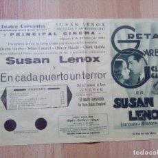 Cine: PROGRAMA DE CINE CON GRETA GARBO Y CLARK GABLE--SUSAN LENOX. Lote 87592384