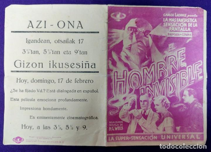 Cine: PROGRAMA DE CINE ORIGINAL. EL HOMBRE INVISIBLE.DOBLE.RARO ESCASO.UNIVERSAL.AZI-ONA BERGARA.REPUBLICA - Foto 2 - 87800244