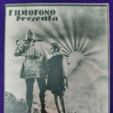 Cine: PROGRAMA DE CINE ORIGINAL. GUILLERMO TELL. DOBLE. RARO Y ESCASO. FILMOFONO.. Lote 87804568