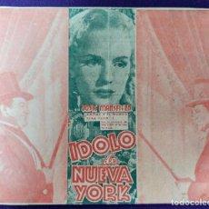 Cine: PROGRAMA DE CINE ORIGINAL. IDOLO DE NUEVA YORK. TRIPTICO. 1940. RARO.TEATRO GORRITI.TAFALLA. NAVARRA. Lote 87806976
