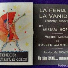 Cine: PROGRAMA DE CINE ORIGINAL. LA FERIA DE LA VANIDAD. DOBLE. 1935-36. RARO Y ESCASO.. Lote 87815132