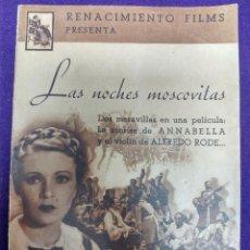 Cine: PROGRAMA DE CINE ORIGINAL. LAS NOCHES MOSCOVITAS. DOBLE. RARO Y ESCASO.. Lote 87822924