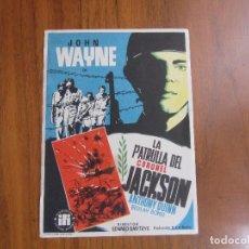Cine: PROGRAMA DE CINE FOLLETO DE MANO LA PATRULLA DEL CORONEL JACKSON AÑOS 50 SIN PUBLICIDAD VER FOTOS. Lote 88095092