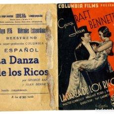 Cine: LA DANZA DE LOS RICOS - CINE IDEAL DE ALICANTE 1936. Lote 88201596