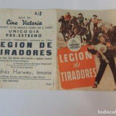 Cine: LEGION DE TRAIDORES - FOLLETO ORIGINAL DOBLE - ELLEN DREW JOHN HOWARD AKIM TAMIROFF CIFESA WESTERN. Lote 88766892
