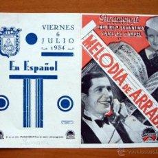 Cine: MELODIA DE ARRABAL - CARLOS GARDEL, IMPERIO ARGENTINA - PUBLICIDAD CINE EMPRESA MUNICIPAL, CÁDIZ. Lote 14712774